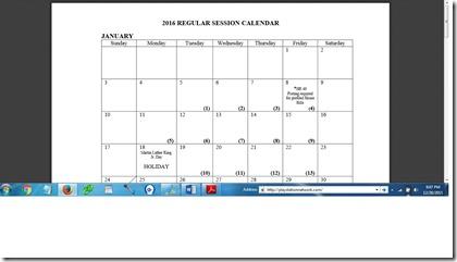 KY 2016 Regular Session Legislative Calendar