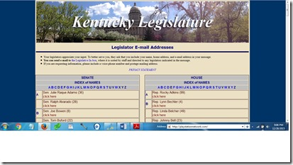 KY Legislative Email Addresses